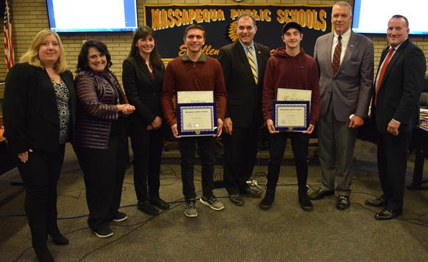 The Board of Education and Town of Oyster Bay recognized two Massapequa High School Students