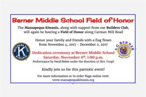 Berner Middle School Builders Club Supports Field of Honor