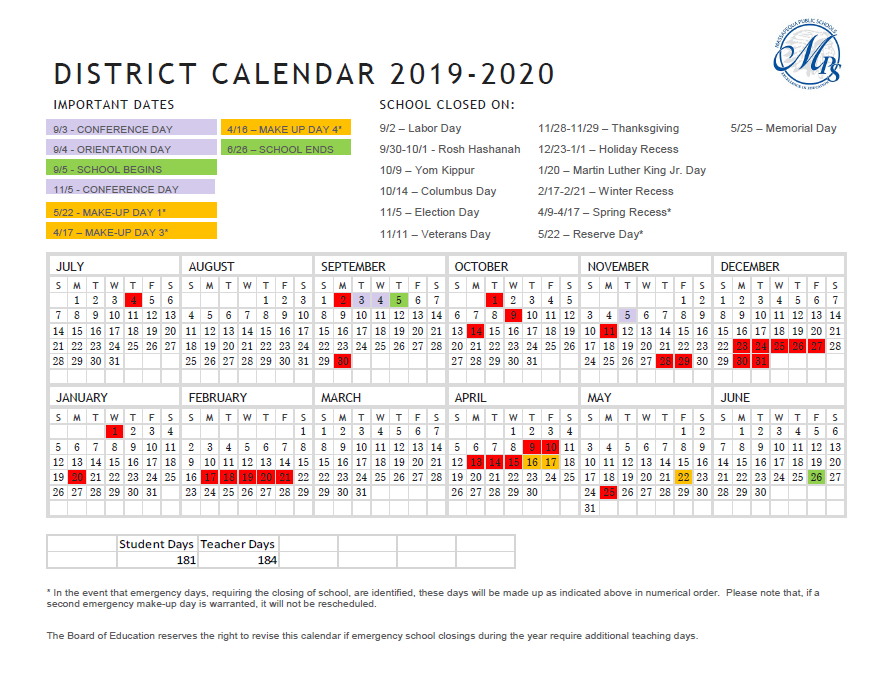 District 10-Month Calendar for 2019-2020